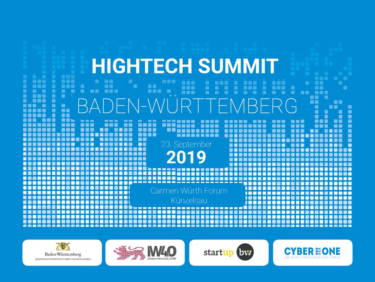Das Bild zeigt die Veranstaltungsankündigung des Hightech Summit Baden-Württemberg am 23. September 2019 in Künzelsau mit den vier Logos der Veranstalter: Land Baden-Württemberg, Initiative Baden-Württemberg 4.0, startup Baden-Württemberg und CyberOne.