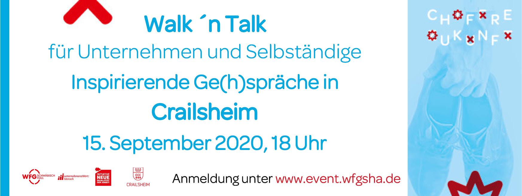 Das Bild zeigt die Informationen zur Veranstaltung mit dem Titel Walk 'n Talk f�r Unternehmen und Selbst�ndige, Inspirierende Ge(h)spr�che in Schw�bisch Hall am 8.09.2020 um 19 Uhr. Zudem zeigt es eine Hand, die ein paar Schuhe h�lt.