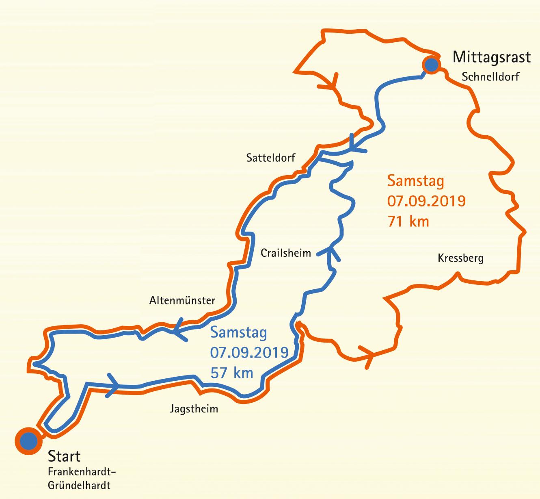 Das Bild zeigt den Tourverlauf der gro�en und kleinen Tour am Samstag mit Start und Ziel in Frankenhardt/Gr�ndelhardt und Mittagsrast in Schnelldorf. Die kleine Tour f�hrt �ber Jagstheim, Crailsheim, Satteldorf und Altenm�nster und betr�gt 57 km. Die gro�e Tour f�hrt zudem noch �ber Kressberg und ist 71 km lang.